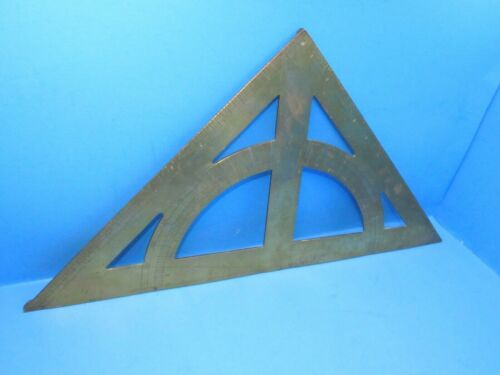showy & large brass faced Wm Bryson square & inclinometer & triangle