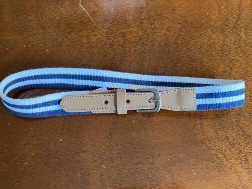 Janie and Jack Toddler Boy Tan Leather and Blue/White Cotton Blend Belt, Size 2T