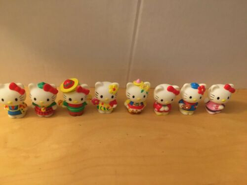 (8) EIGHT ADORABLE HELLO KITTY PENCIL TOPPERS + FOR SALE IN JAPAN ONLY TIN