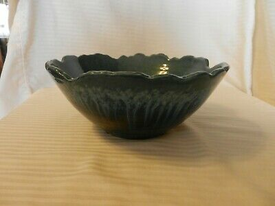 Multi Color Blue Ceramic Fruit or Salad Bowl, Scallop Edges 9.5