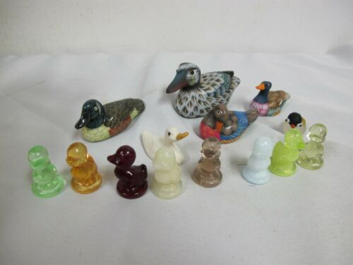 MINIATURE DUCK FIGURINES (14) YELLOW- RED- GREEN  GLASS- CERAMIC- PAINTED -