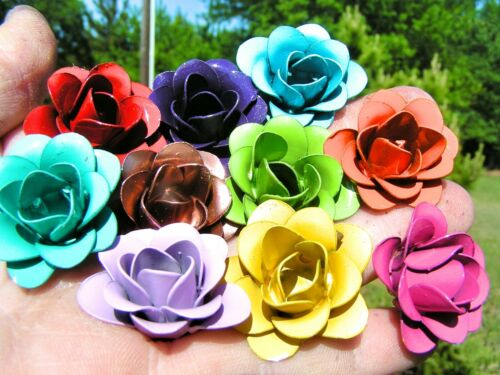 10 Rose heads, metal flowers, crafts, jewelry, embellishments, accents