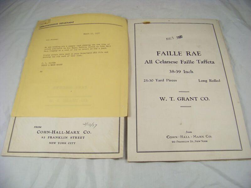 1937 TAFFETA 3 FABRIC SAMPLE CATALOG COHN HALL MARX TAFFOSHEEN FAILLE W T GRANTS