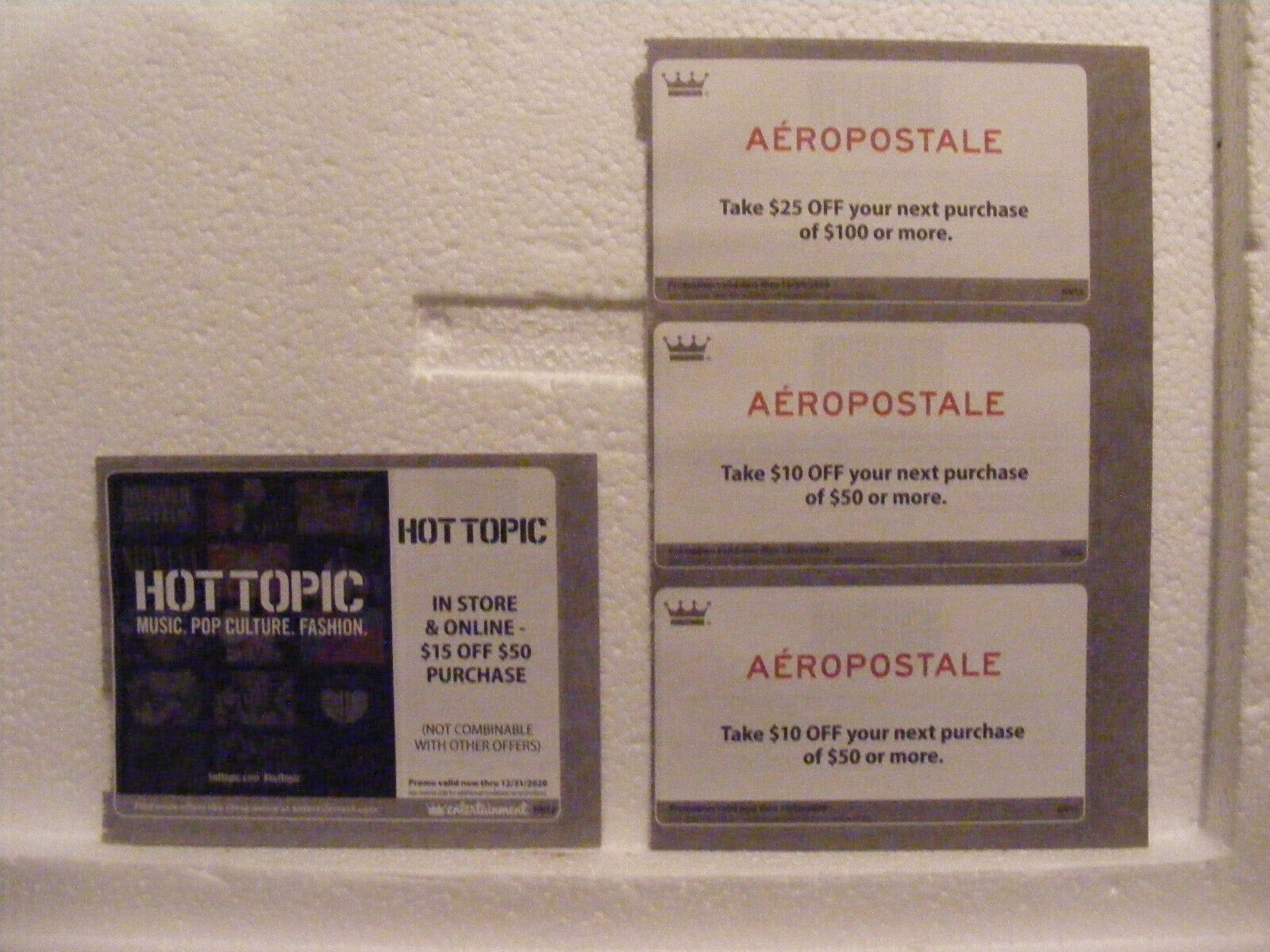 10 Off 50 25 Off 100 Aeropostale/ 15 Off 50 Hot Topic/Coupons Exp Dec 20 - $6.49