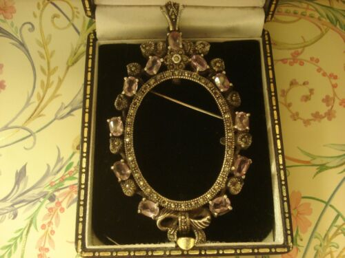 Beautiful Antique Inspired; Amethyst Gems Sterling Silver Frame: Brooch/Pendant