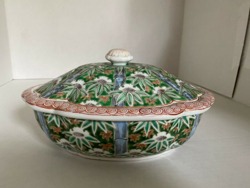 Antique Aoki Arita Porcelain Tureen Cover Red Green White Blue Marked