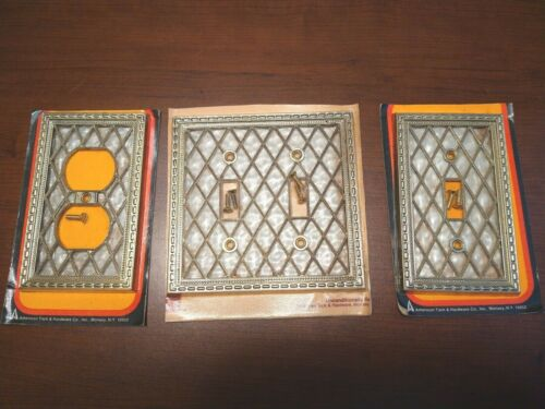 3 Vtg 1976 American Tack Hardware Brass Mother Of Pearl Light Switch Plate +More
