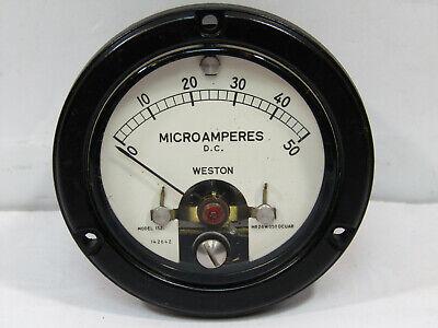Weston Ruggedized 50 U Amp 50 Ua 2 34 Inch Dia Panel Meter Nos Model 1521