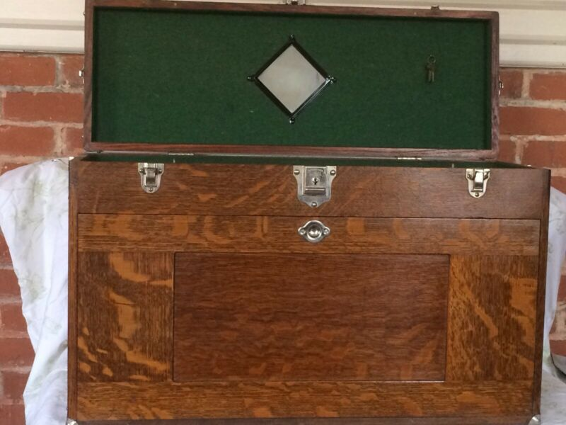 Vintage H GERSTNER & SONS Model O52 Oak Machinist Tool Chest, 11 Drawers