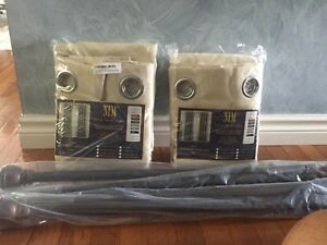 2 pkgs new beige curtains +rods
