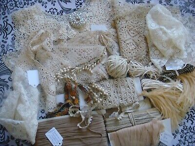 LARGE 66  LOT OF ANTIQUE  NET LACES, RECLAIMED FABRICS, RIBBON AND A LOT MORE