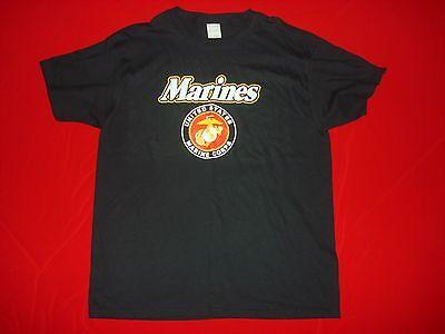 United States Marine MARINES Black Cotton T-Shirt ** New, Size Large **
