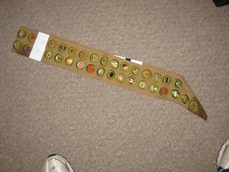 Boy Scout Tan Wide Sash--36 tan Crimped Merit Badges          s14