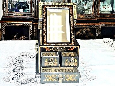 REPRODUCTION ANTIQUE HAND CRAFTED MIRRORED & GILDED JEWELLERY BOX UNUSED
