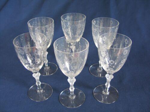 Six Vintage WINE GLASSES thin, etched & cutglass stemware, elegant