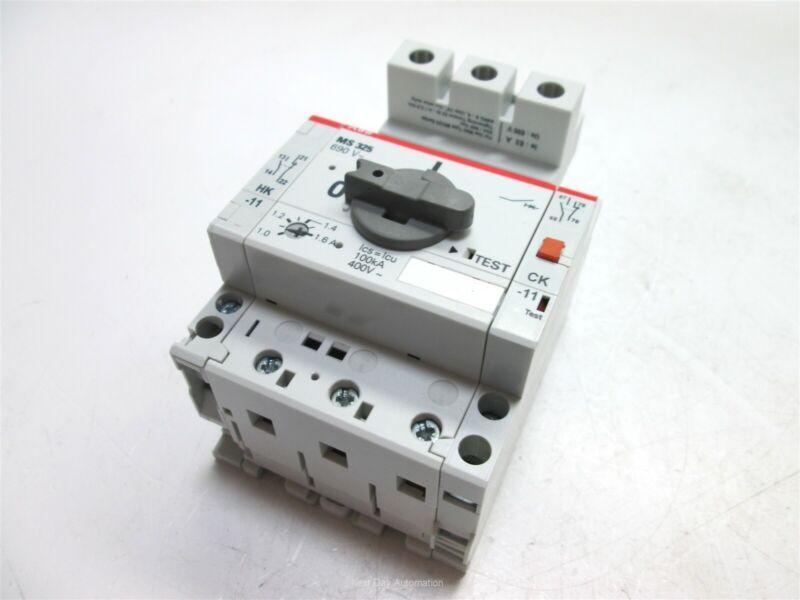 ABB MS325-690V Manual Motor Starter, 690VAC Max, 1-1.6A, 3-Pole, 2x Aux Modules