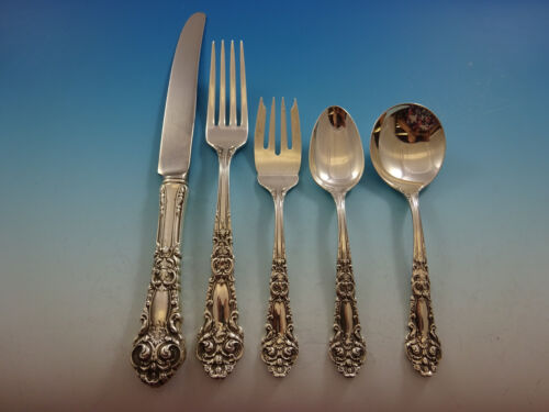 French Renaissance Reed & Barton Sterling Silver Flatware Set 8 Service 49 Pc Dn