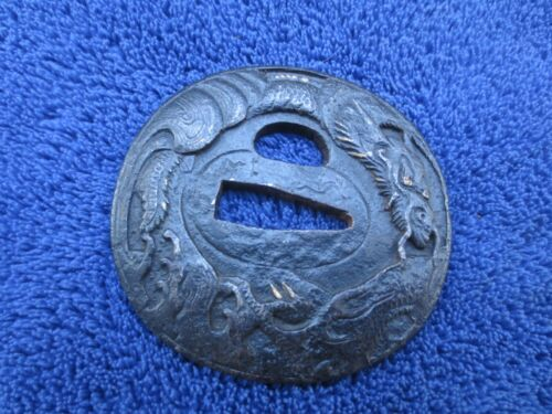 ANTIQUE JAPANESE IRON TSUBA KATANA SWORD GUARD DRAGON DECORATED
