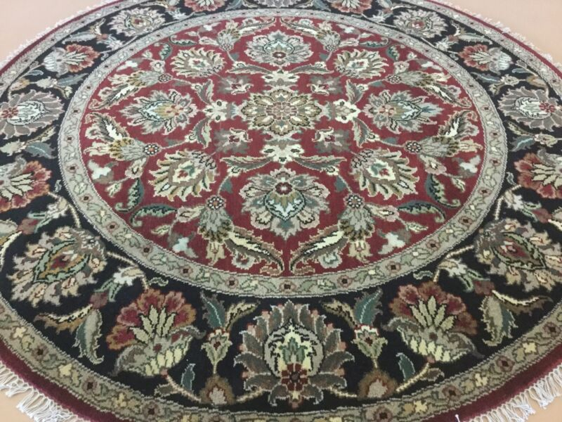 6 X 6 Red Black Round Agra Persian Oriental Area Rug Hand Knotted Floral Foyer