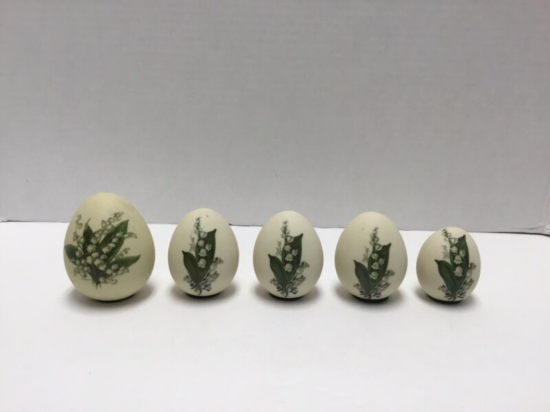 VTG LILY-OF-THE-VALLEY EASTER EGGS ~Set Of 5 ~1 Signed