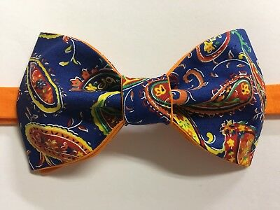 (Custom Mens Blue/Orange Paisley Bow Tie Pre-tied Adjustable Handmade bowtie)