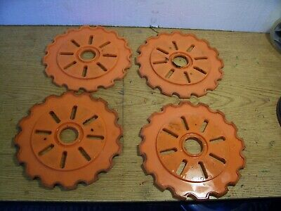 4 Plastic Lustran Ih Planter Plates C1-r Orange Lot J