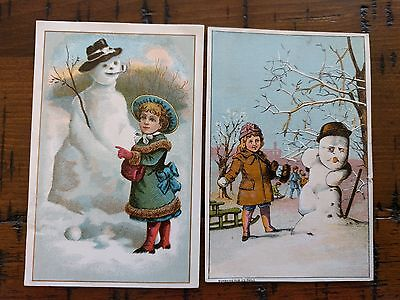 #ORIGINAL 1800's VICTORIAN Lot of 2 Trade Card Snowman 3 x 4.5""