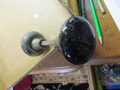 1 SET ANTIQUE PORCELAIN BLACK GLASS VINTAGE DOOR KNOBS #8