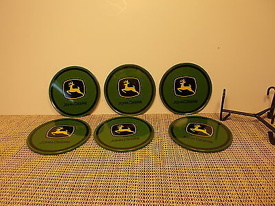 John Deere Tractor Set od 6 Coasters Plastic with Cork Back 3 1/2""