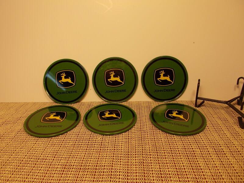 "John Deere Tractor Set of 6 Coasters Plastic with Cork Back 3 1/2"""