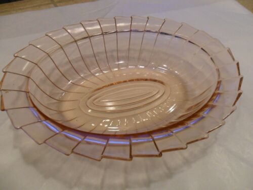 "SUPER RARE-JEANNETE GLASS ""SIERRA""(PIN WHEEL)PINK OVAL VEGETABLE BOWL 1931-33"