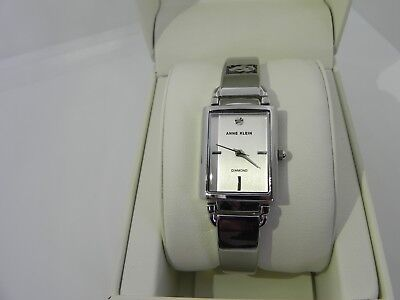 New Anne Klein AK/2495SVSV Diamond-Accented Silver Tone Women's Watch