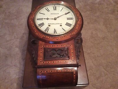 BEAUTIFUL ANTIQUE INLAID WALNUT , AMERICAN WALL CLOCK CIRCA 1890.