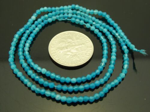 "Genuine Jade Aqua Blue Color 2mm Micro Faceted Round Gemstone Bead Strand 15.5"""