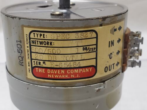 "NOS DAVEN Spec 3827 ""T "" Network 500/500 1db Step 20 DB Total, RQ-501 Attenuator"