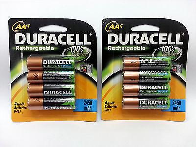 (8) DURACELL AA Rechargeable NiMH 2450 mAh 1.2V Batteries 8 PACK DC1500B8N NIP on Rummage