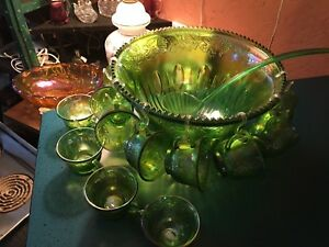Carnival Glass Punch Bowl Set