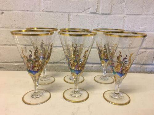 Vintage Likely Bohemian Moser Set of 6 Glasses Goblets Enamel & Gold Decoration