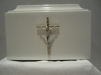 602 Religious Christian White Adult Cremation Urn with Crucifix