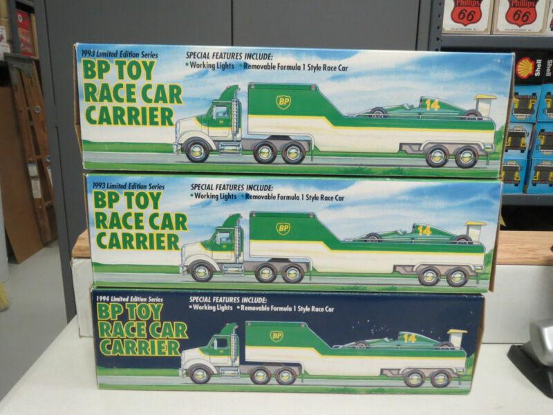 BP 1993 RACE CAR CARRIER AND RACE CAR ALL 3 ISSUES-MINT