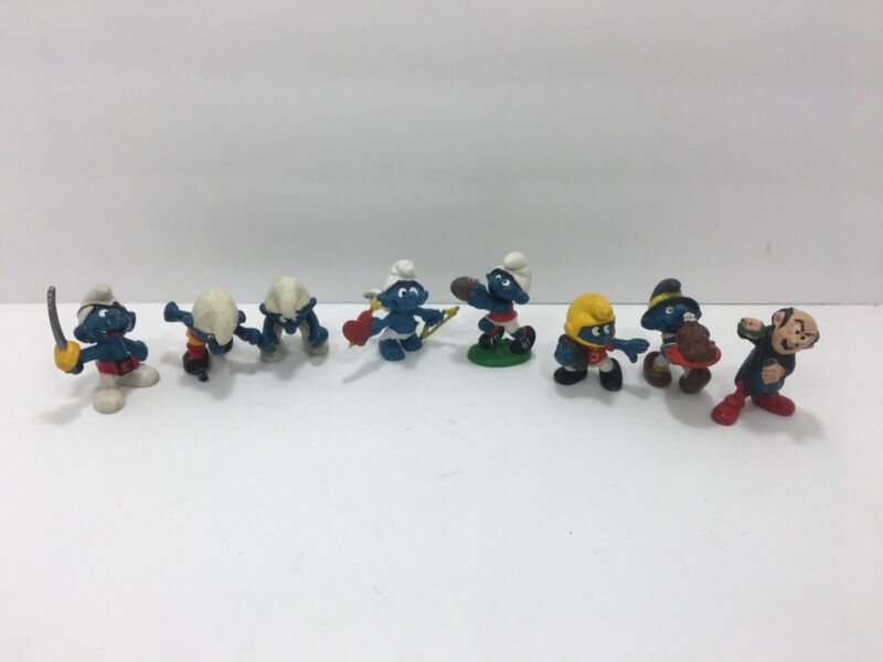 Vintage Lot Of 8 Smurfs Gargamel Sports Cupid Turkey Hard Plastic Figures