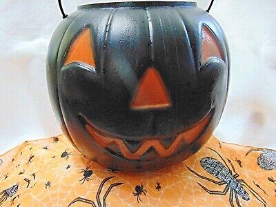 Vintage Halloween Black Pumpkin Jack O Lantern Candy Bucket Plastic Blow Mold