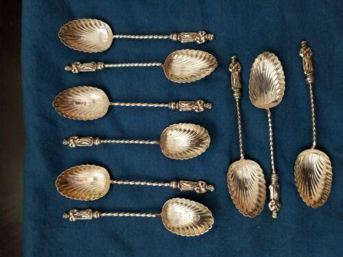 9 sterling silver vintage Apostle spoons, Birmingham England