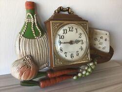 Vintage Burwood New Haven Quartz Clock RETRO Wine, Cheese, Grapes WORKS F