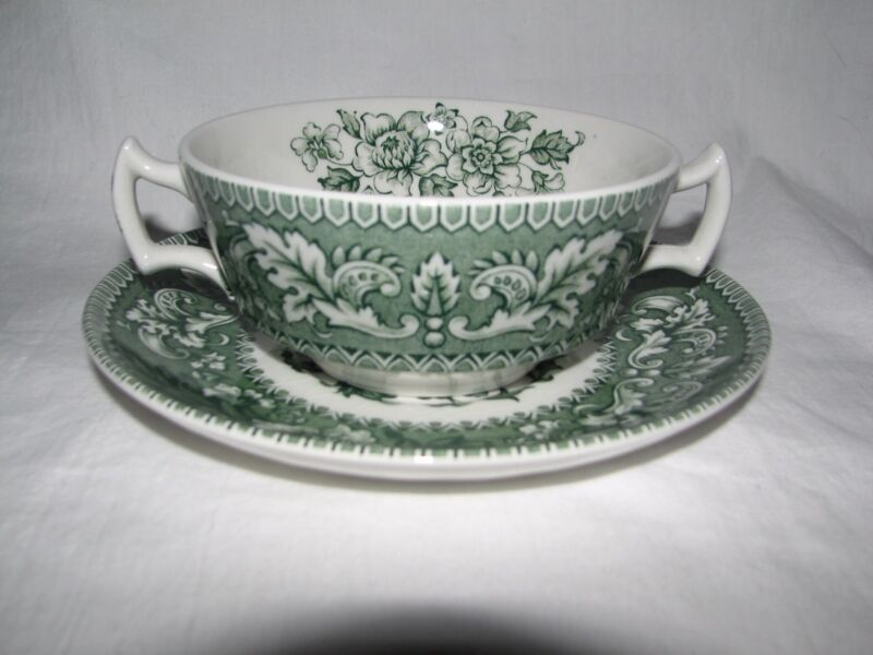 green transferware vintage WOOD WESTMINSTER floral toile CREAM SOUP w/ PLATE
