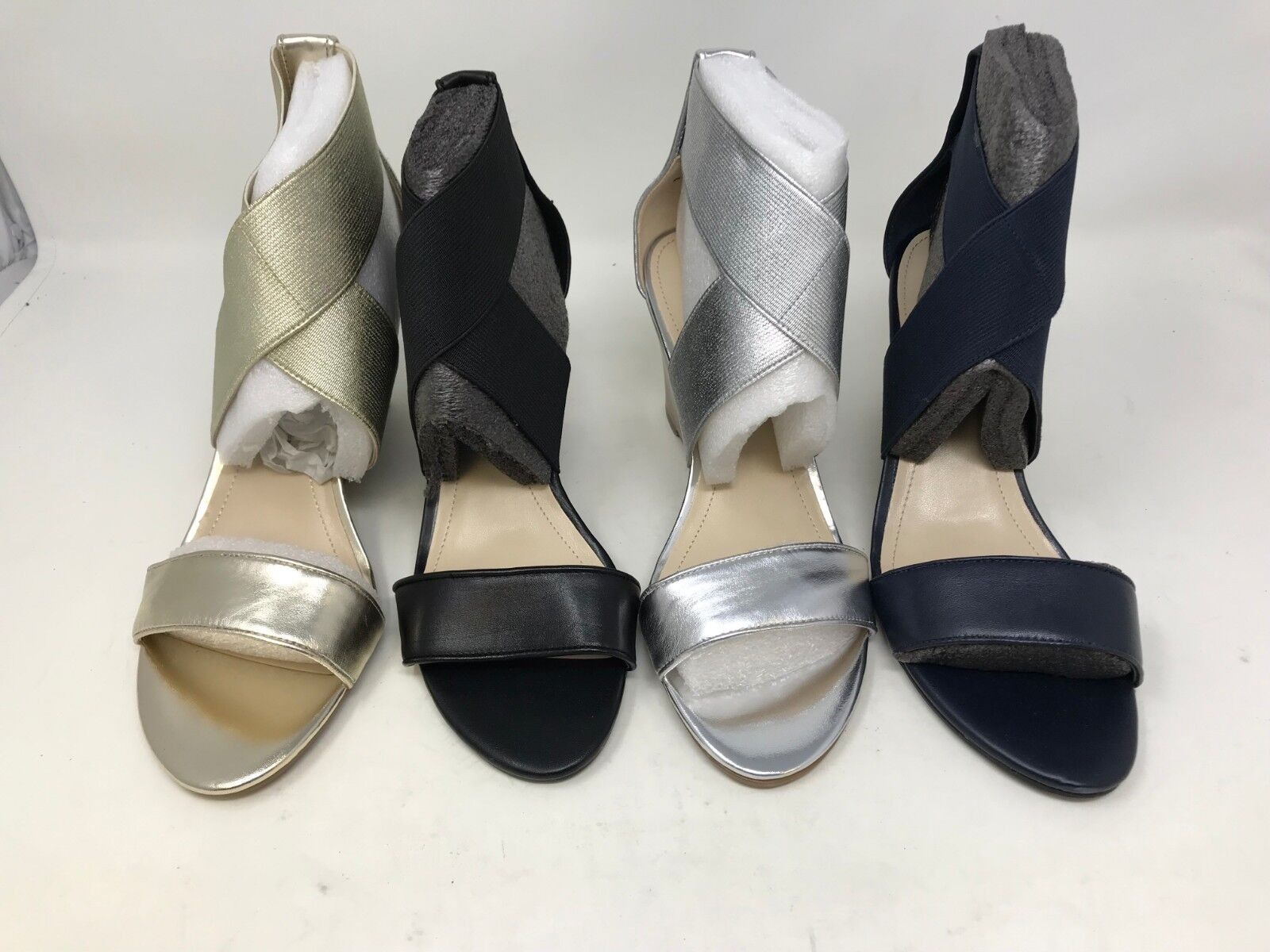 NEW! Marc Fisher Women's Cecila Wedge Sandals Black/Gold/Silver/Navy S12 z