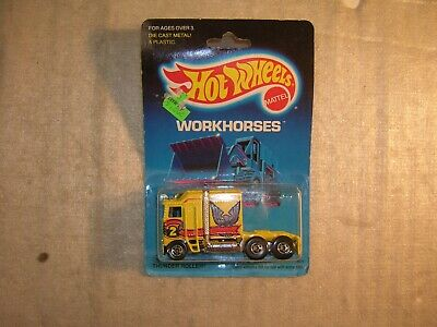 Vintage 1986 Hot Wheels Workhorses Thunder Roller Cab Truck New Sealed on Card !