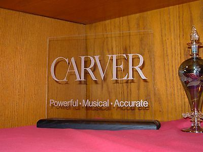 CARVER ETCHED GLASS SIGN W/BLACK OAK BASE