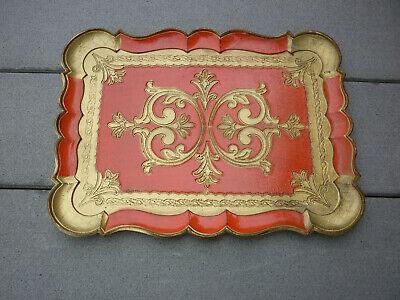 "Antique Vintage  Italy Italian Florentine Gold Red Orange Gilt  Wooden Tray 14"""
