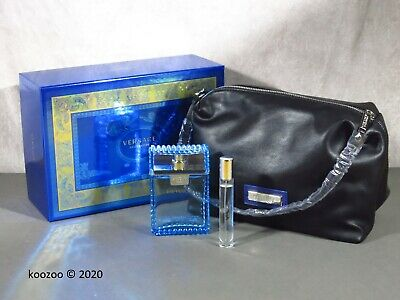 VERSACE MAN EAU FRAICHE GIFT SET 100ml + 10ml + WASHBAG TOILETRY BAG TRAVEL